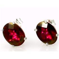 925 Sterling Silver Post Earrings, Crimson Topaz, SE002