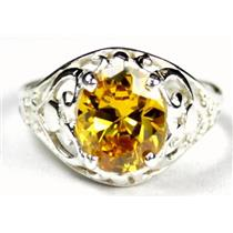 SR004, Golden Yellow CZ, 925 Sterling Silver Ring