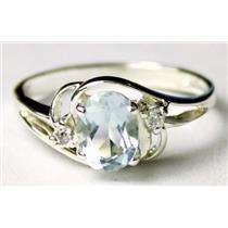 SR176, Aquamarine, 925 Sterling Silver Ring