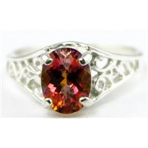 Twilight Fire Topaz, 925 Sterling Silver Ring, SR005