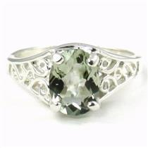Green Amethyst, 925 Sterling Silver Ring, SR005
