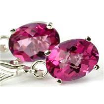 925 Sterling Silver Leverback Earrings, Pure Pink Topaz, SE007