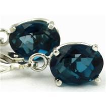 925 Sterling Silver Leverback Earrings, London Blue Topaz, SE007