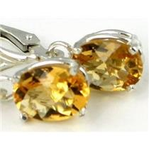 925 Sterling Silver Leverback Earrings, Citrine, SE007