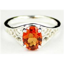 Created Padparadsha Sapphire, 925 Sterling Silver Ring, SR005