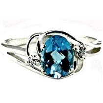 SR176, Swiss Blue Topaz, 925 Sterling Silver Ring