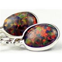 925 Sterling Silver Leverback Earrings, Created Black Opal, SE001