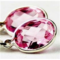 925 Sterling Silver Leverback Earrings, Created Pink Sapphire, SE001