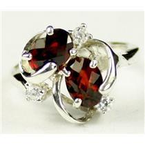 SR016, Mozambique Garnet, 925 Sterling Silver Ring