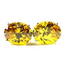 925 Sterling Silver Post Earrings, Golden Yellow CZ, SE102