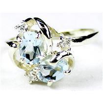SR016, Aquamarine, 925 Sterling Silver Ring