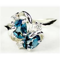 SR016, London Blue Topaz, 925 Sterling Silver Ring