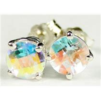 925 Sterling Silver Post Earrings, Mercury Mist Topaz, SE012