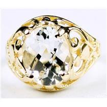Silver Topaz, Gold Ring, R004