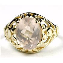 Rose Quartz, Gold Ring, R004