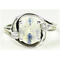 SR021, Rainbow Moonstone, 925 Sterling Silver Ring