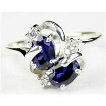 SR016, Created Blue Sapphire, 925 Sterling Silver Ring