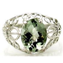 SR162, Green Amethyst, 925 Sterling Silver Ring
