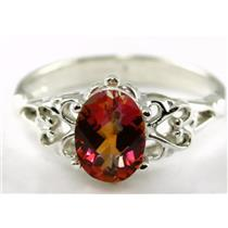 SR302, Twilight Fire Topaz,  925 Sterling Silver Ring
