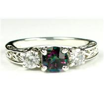 925 Sterling Silver Engagement Ring, Mystic Fire Topaz w/ Accents, SR254