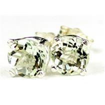 925 Sterling Silver Post Earrings, Green Amethyst, SE012