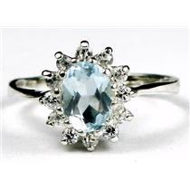SR235, Aquamarine, 925 Sterling Silver Ring