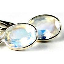 925 Sterling Silver Leverback Earrings, Rainbow Moonstone, SE001