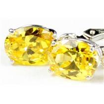925 Sterling Silver Leverback Earrings, Golden Yellow CZ, SE007