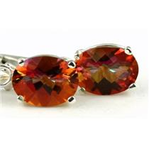 925 Sterling Silver Leverback Earrings, Twilight Fire Topaz, SE007
