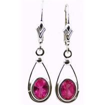 925 Sterling Silver Leverback Earrings, Created Pink Sapphire, SE008