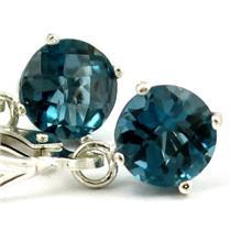 925 Sterling Silver Leverback Earrings, London Blue Topaz, SE017