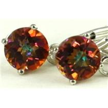 925 Sterling Silver Leverback Earrings, Twilight Fire Topaz, SE017