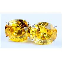 925 Sterling Silver Post Earrings, Golden Yellow CZ, SE202,