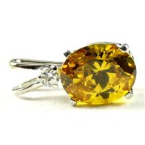 925 Sterling Silver Pendant, Golden Yellow CZ, SP020