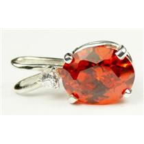 925 Sterling Silver Pendant, Created Padparadscha Sapphire, SP020