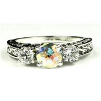 925 Sterling Silver Engagement Ring, Mercury Mist Topaz w/ Accents, SR254