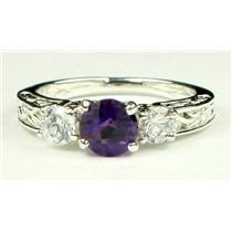 925 Sterling Silver Engagement Ring, Amethyst w/ Accents, SR254