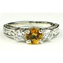 925 Sterling Silver Engagement Ring, Citrine w/ Accents, SR254