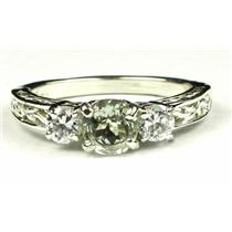 925 Sterling Silver Engagement Ring, Green Amethyst w/ Accents, SR254