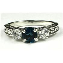 925 Sterling Silver Engagement Ring, London Blue Topaz w/ Accents, SR254