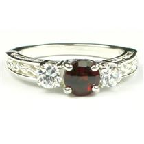 925 Sterling Silver Engagement Ring, Mozambique Garnet w/ Accents, SR254