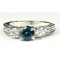 925 Sterling Silver Ladies Engagement Ring, Paraiba Topaz w/ Accents, SR254