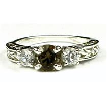 925 Sterling Silver Engagement Ring, Smoky Quartz w/ Accents, SR254