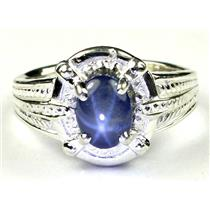 925 Sterling Silver Ladies Ring, Natural Blue Star Sapphire, SR284