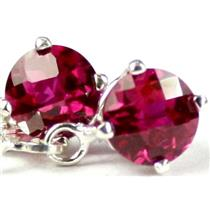 925 Sterling Silver Leverback Earrings, Created Ruby, SE017
