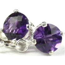 925 Sterling Silver Leverback Earrings, Amethyst, SE017