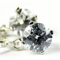 925 Sterling Silver Leverback Earrings, Cubic Zirconia, SE017