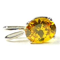 925 Sterling Silver Pendant, Golden Yellow CZ, SP002