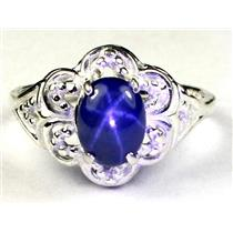925 Sterling Silver Ladies Ring, Natural Blue Star Sapphire, SR125