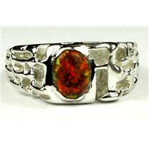925 Sterling Silver Men's Nugget Ring, Created Red/Brown Opal, SR197